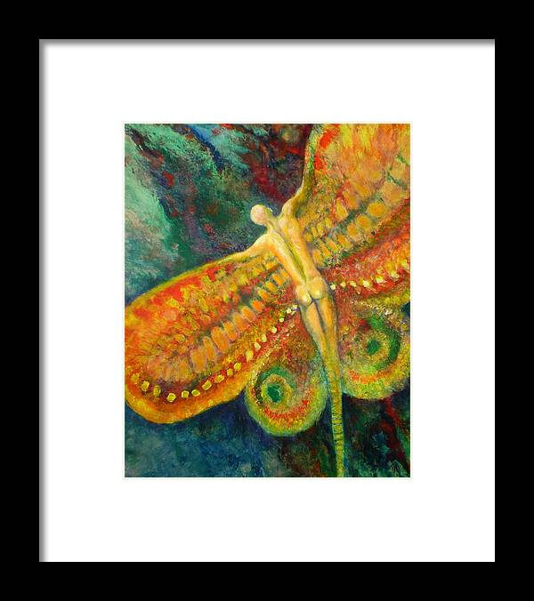 Butterfly Framed Print featuring the painting Butterfly Man by Michael Durst