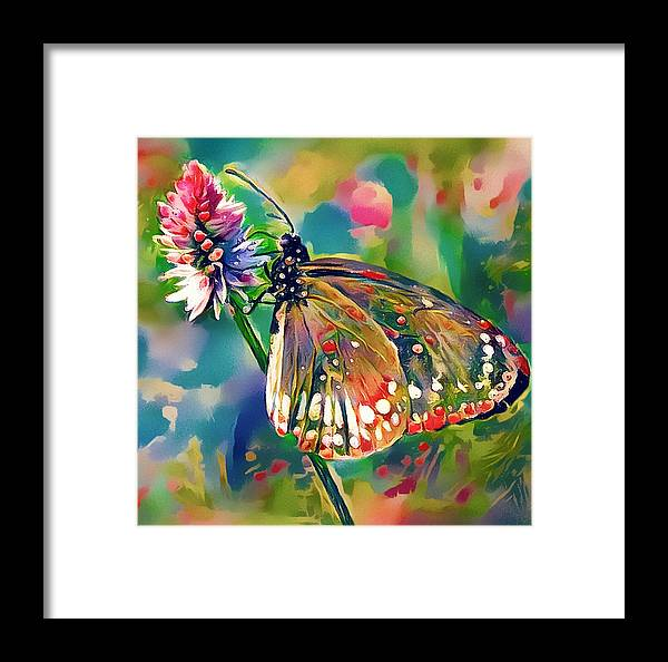 Flower Framed Print featuring the digital art Butterfly Of Paradise 1 by Yury Malkov