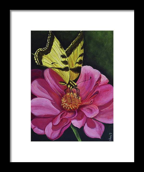 Flower Framed Print featuring the painting Butterfly On A Pink Daisy by Silvia Philippsohn