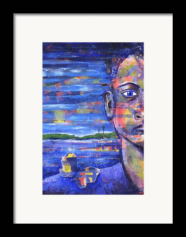 Face Framed Print featuring the painting Butterfly On My Shoulder by Rollin Kocsis
