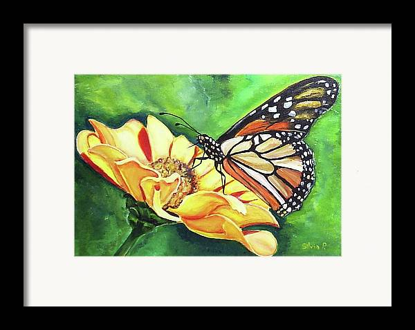 Daisy Framed Print featuring the painting Butterfly On Yellow Daisy by Silvia Philippsohn