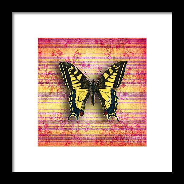 Framed Print featuring the digital art Butterfly1 by Ramneek Narang