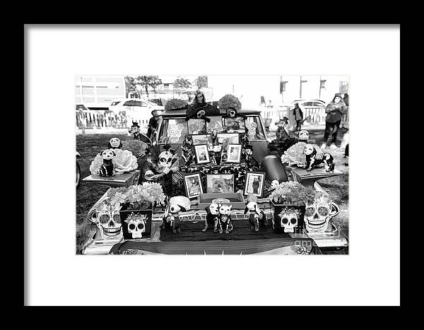 Dia De Los Muertos Framed Print featuring the photograph Bw Classic Car Trunk Decor Day Dead by Chuck Kuhn