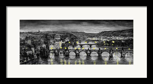 Prague Framed Print featuring the painting Bw Prague Bridges by Yuriy Shevchuk