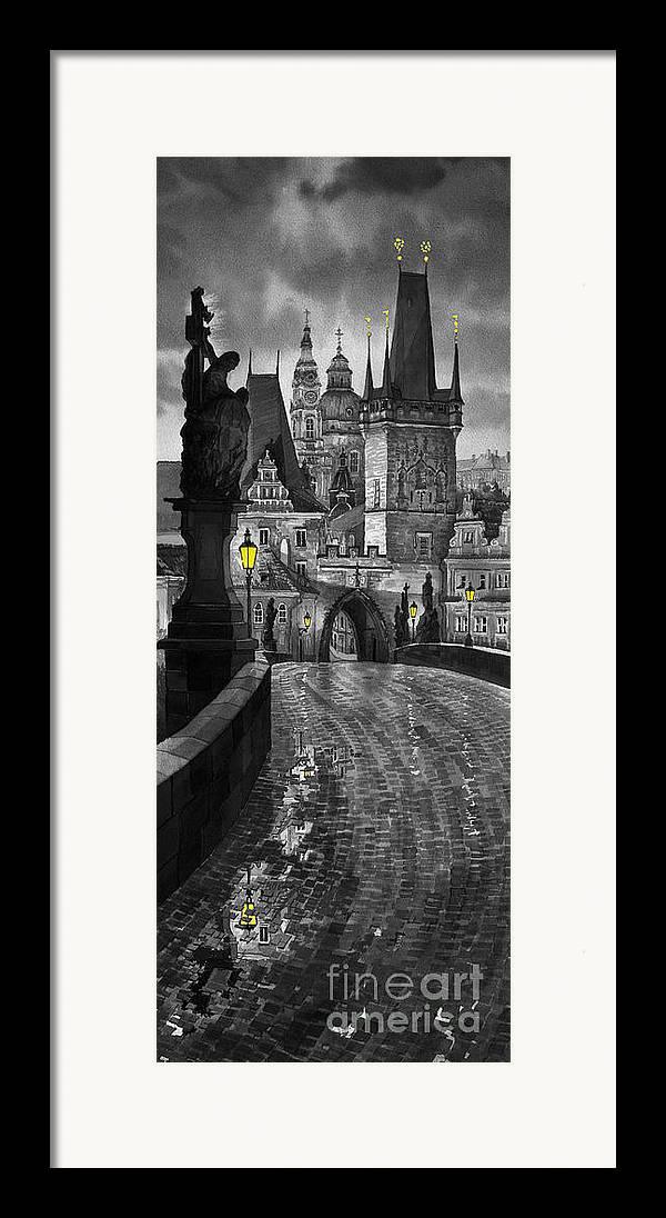 Prague Framed Print featuring the painting Bw Prague Charles Bridge 03 by Yuriy Shevchuk