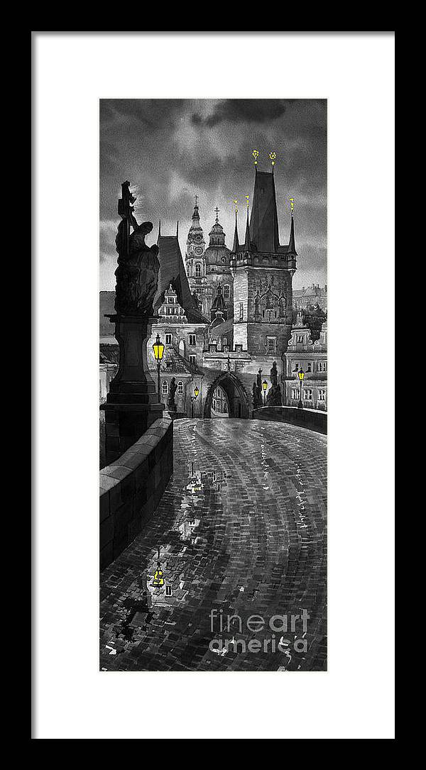 Prague Framed Print featuring the painting BW Prague Charles Bridge 03 by Yuriy Shevchuk
