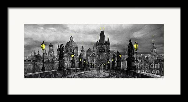 Prague Framed Print featuring the painting Bw Prague Charles Bridge 04 by Yuriy Shevchuk