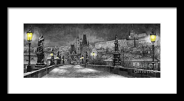 Prague Framed Print featuring the painting BW Prague Charles Bridge 06 by Yuriy Shevchuk