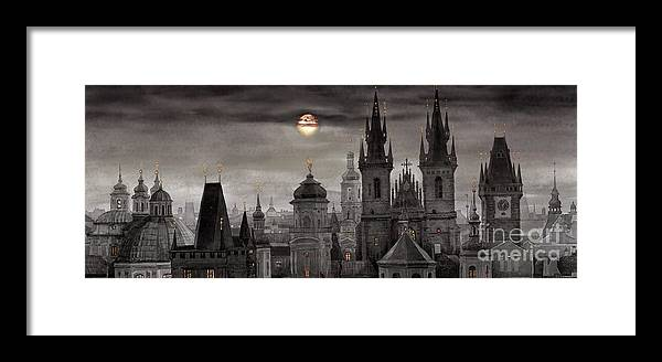 Cityscape Framed Print featuring the painting Bw Prague City Of Hundres Spiers by Yuriy Shevchuk