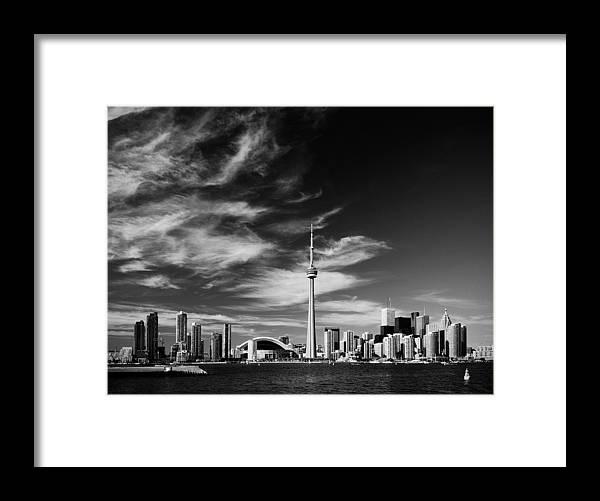 Toronto Framed Print featuring the photograph BW skyline of Toronto by Andriy Zolotoiy