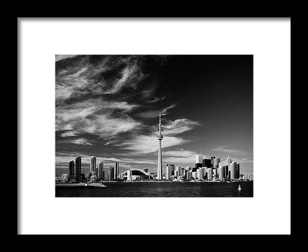 Toronto Framed Print featuring the photograph Bw Skyline Of Toronto by Andriy Zolotoiy