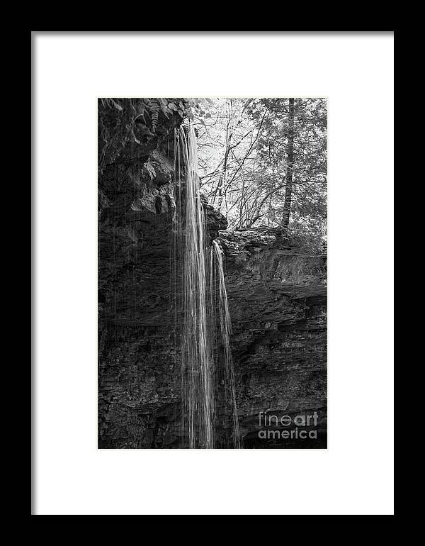 Waterfall Framed Print featuring the photograph Bw Waterfall by Wesley Farnsworth