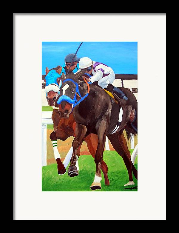 Horse Racing Framed Print featuring the painting By A Nose by Michael Lee