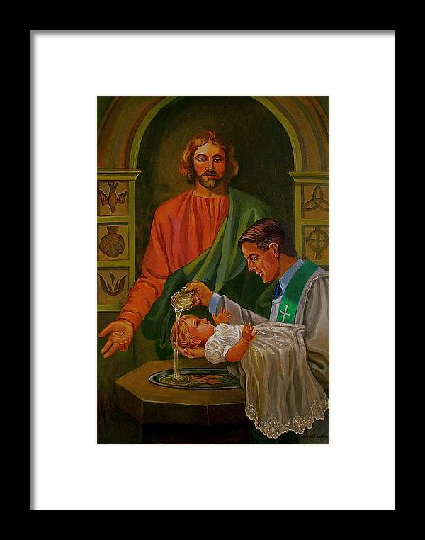Jesus Baptism Framed Print featuring the painting By Grace Alone by Alan Carlson