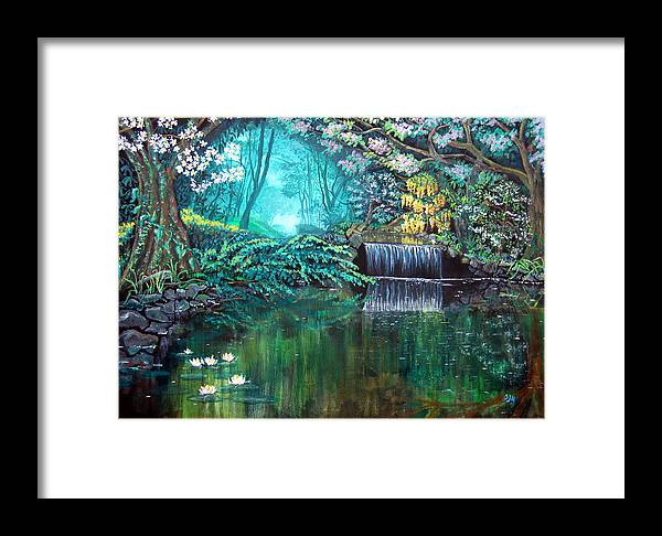 Idyllic Forest Landscape Framed Print featuring the painting By Still Waters by Sarah Hornsby