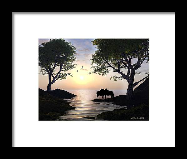 Sunset Framed Print featuring the digital art By Sunset Light by Linda Ebarb