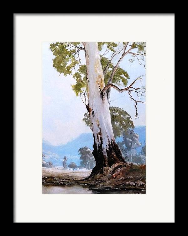 Landscape Framed Print featuring the painting By The Creek by Diko
