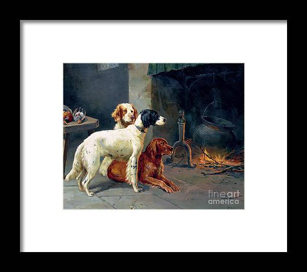 Dogs; Pheasants; Gundogs; Hearth; Cooking Pot; Irons; Irish Red Setter; English Setter; Working Dog Framed Print featuring the painting By The Fire by Alfred Duke