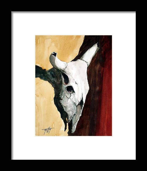 Skull Framed Print featuring the painting By The Horns by Travis Kelley