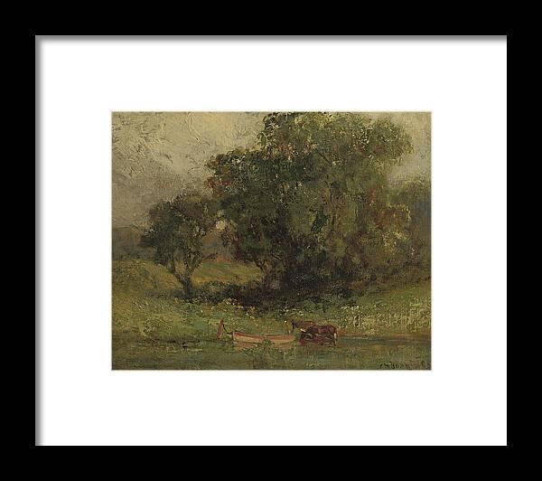 Edward Mitchell Bannister Framed Print featuring the painting By The Lake by Edward Mitchell Bannister