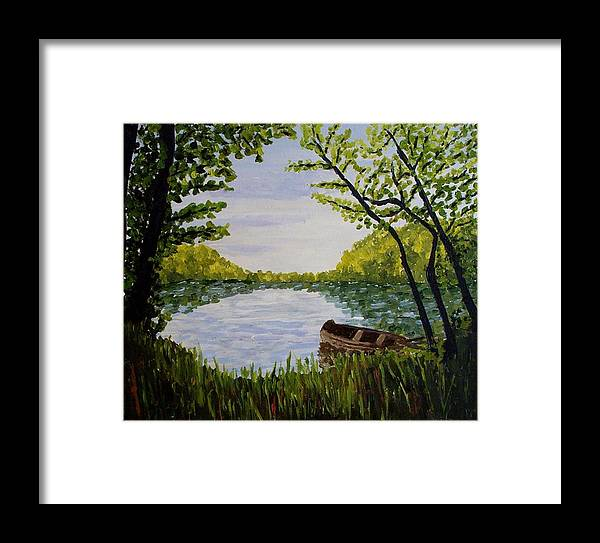 Landscape Framed Print featuring the painting By The Lake by Mats Eriksson