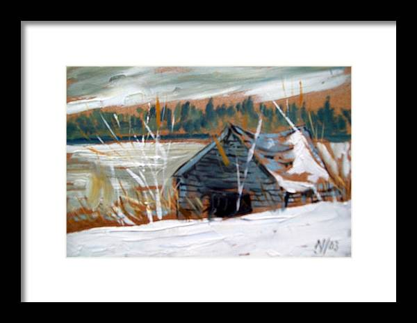 Winter Framed Print featuring the painting By The Lake by Norman F Jackson