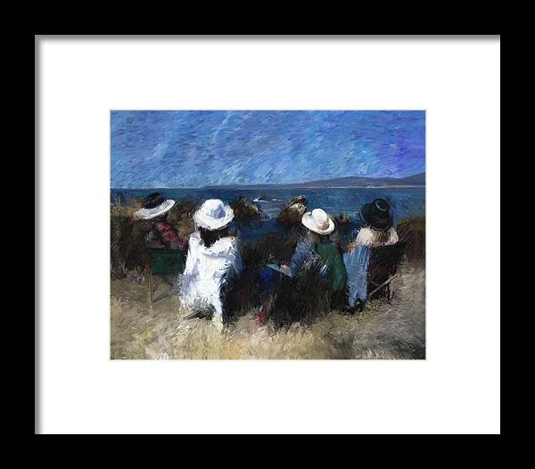Friends Framed Print featuring the digital art By The Sea by Karen Salee