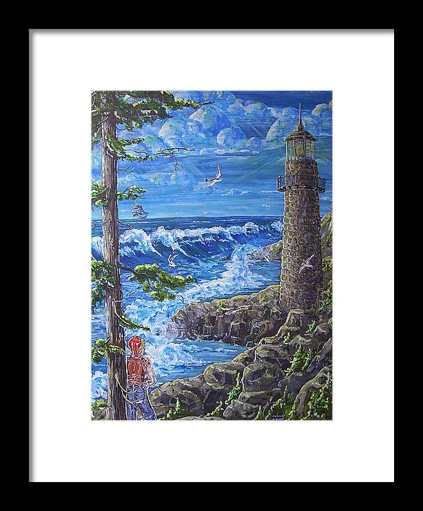 Seascape Framed Print featuring the painting By The Sea by Phyllis Mae Richardson Fisher