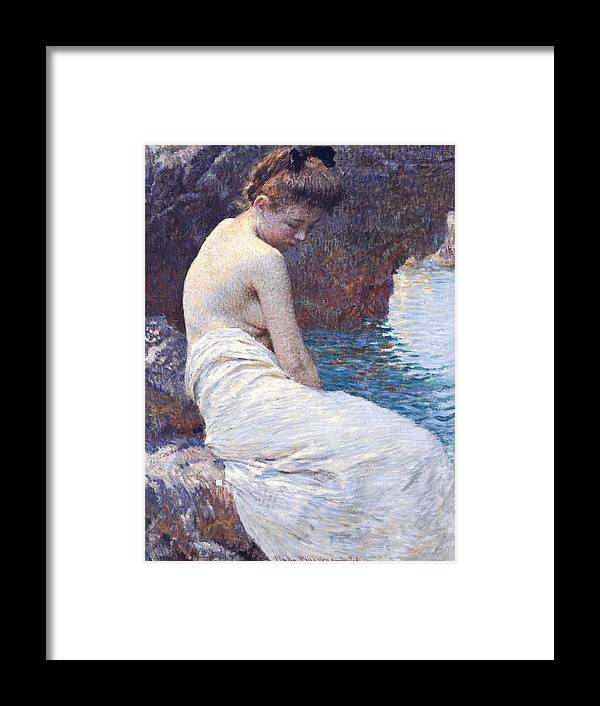 Vlaho Bukovac Framed Print featuring the painting By the Sea by Vlaho Bukovac
