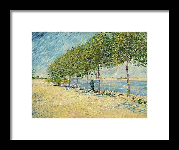 Seine Framed Print featuring the painting By The Seine by Vincent van Gogh