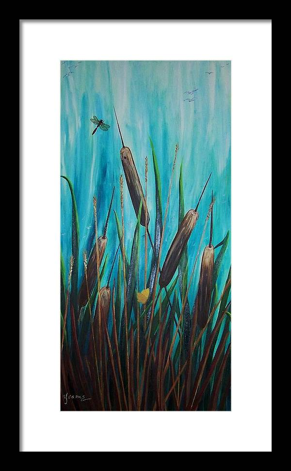 Cat-tails By The Shore Framed Print featuring the painting By The Shore Cat -tail by Yvonne Kinney