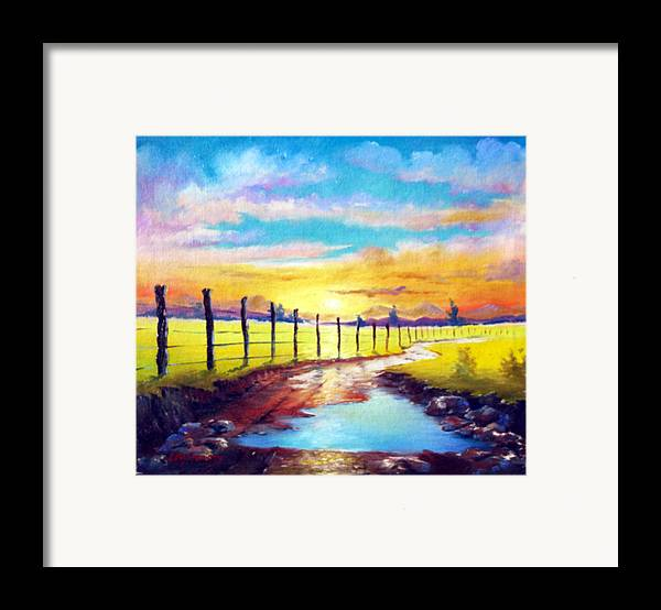 Landscape Framed Print featuring the painting By The Sun In The Field by Leomariano artist BRASIL