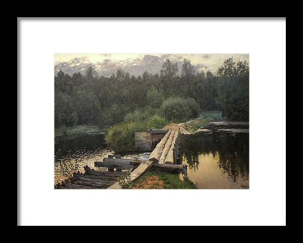 Isaac Levitan Framed Print featuring the painting By the Whirlpool by Isaac Levitan