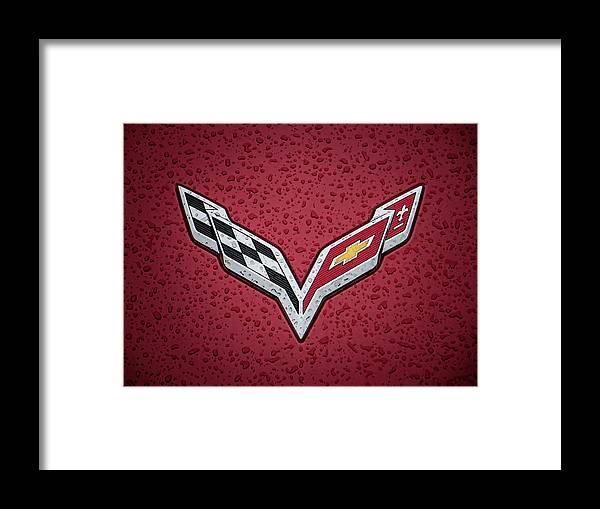 Corvette Framed Print featuring the digital art C7 Badge Red by Douglas Pittman