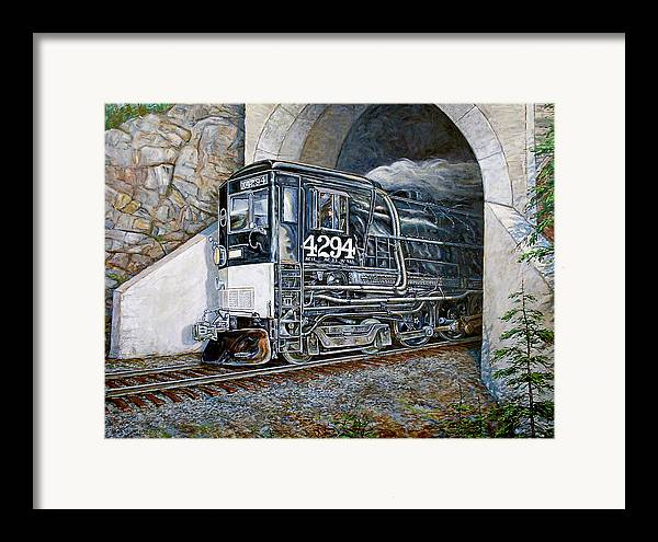 Train Framed Print featuring the painting Cab Forward by Gary Symington