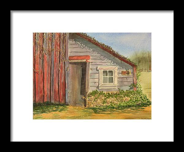 Cabin Framed Print featuring the painting Cabin Fever by Ally Benbrook