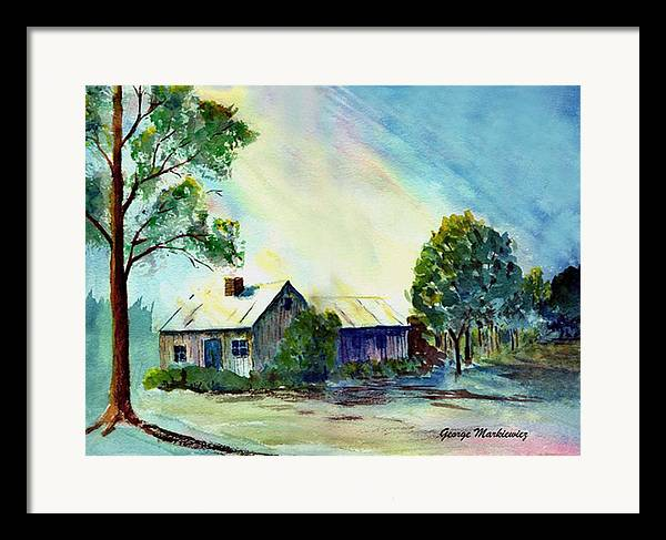 Cabin Landscape Framed Print featuring the print Cabin In The Evening by George Markiewicz