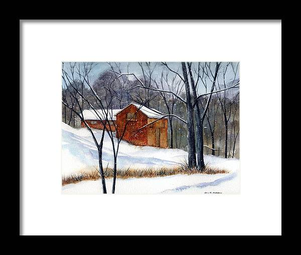 Cabin Framed Print featuring the painting Cabin In The Woods by Debbie Lewis
