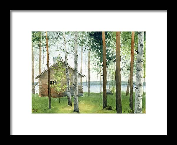 Watercolor Framed Print featuring the painting Cabin In The Woods by Zapista Zapista