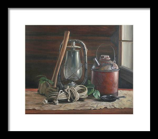 Rustic Framed Print featuring the painting Cabin Still Life by Anna Rose Bain
