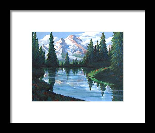 Painting Framed Print featuring the painting Cabin View by Jessica Ostrander