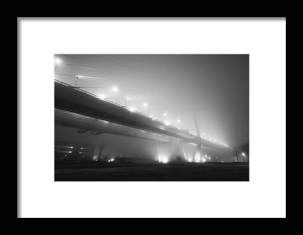 Bridge Framed Print featuring the photograph Cable-stayed Bridge Over River In Fog by Danil Nikonov