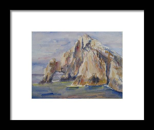Landscape Framed Print featuring the painting Cabo Arch by Joyce Kanyuk