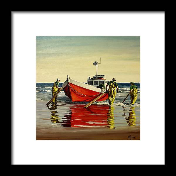 Boat Framed Print featuring the painting Cabo Polonio fishing by Natalia Tejera