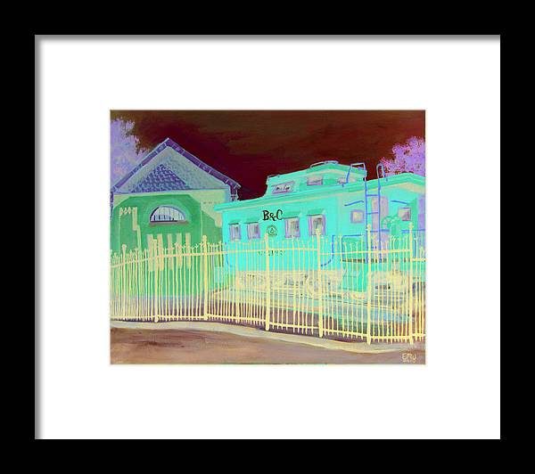 Landscape.city Framed Print featuring the painting Caboose by Edward Williams