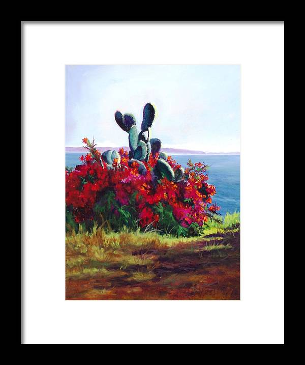 Flower Framed Print featuring the painting Cactus And Bougainvillea by Dorothy Nalls