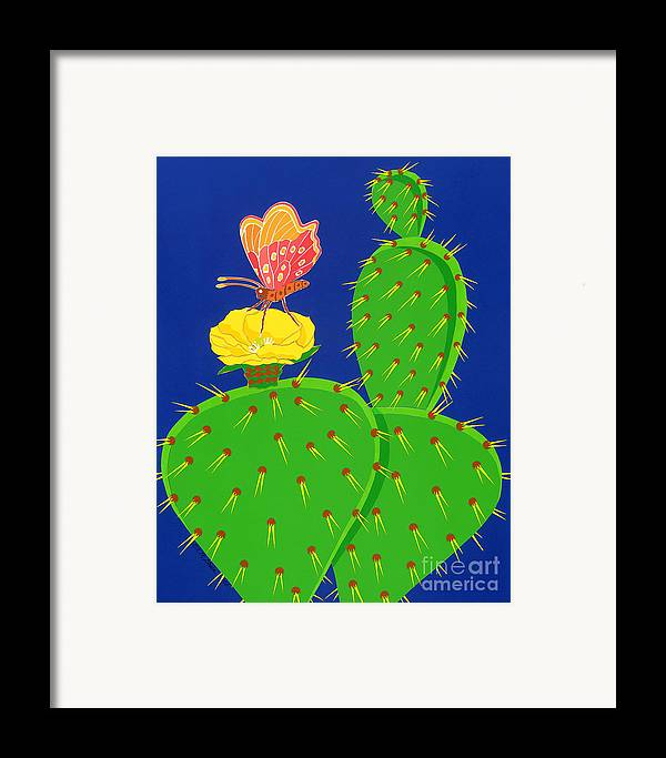 Nature Framed Print featuring the drawing Cactus And Butterfly by Lucyna A M Green