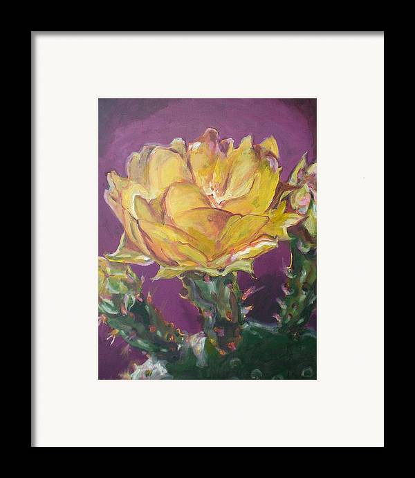 Cactus Framed Print featuring the painting Cactus Blossom On Purple Background by Aleksandra Buha