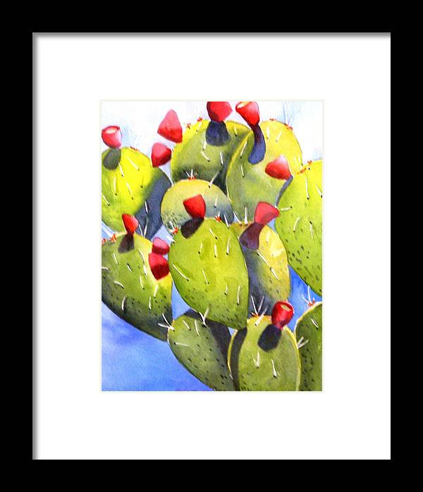 Fun Framed Print featuring the painting Cactus Blossoms by Dorothy Nalls