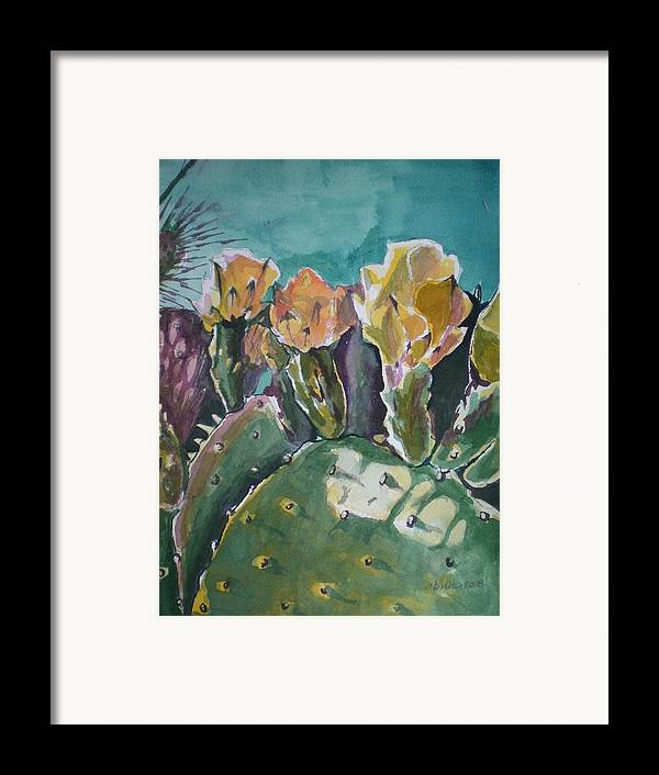 Desert Framed Print featuring the painting Cactus Blossoms In Desert by Aleksandra Buha